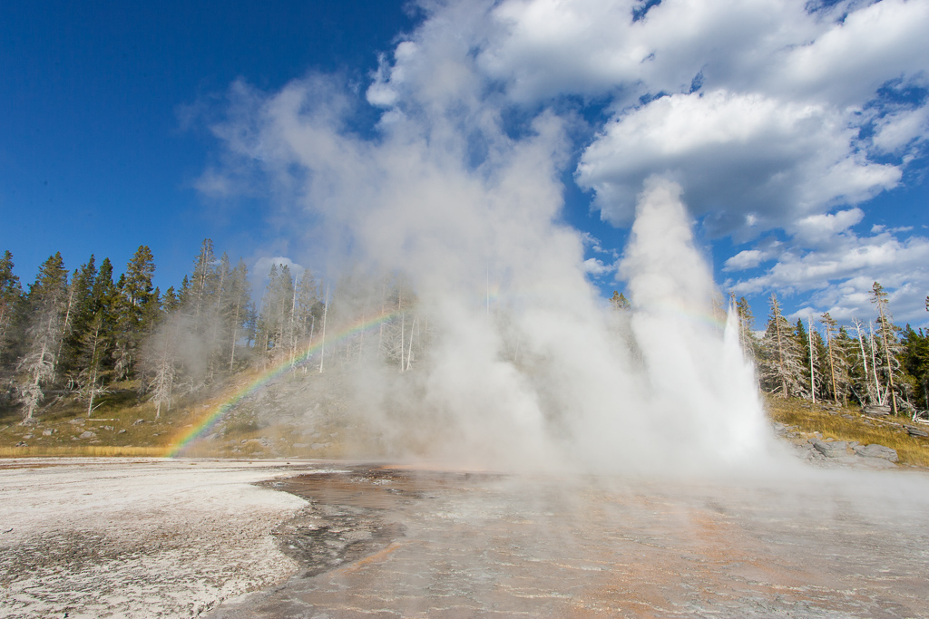 Grand Geyser erupting in Upper Geyser Basin in Yellowstone